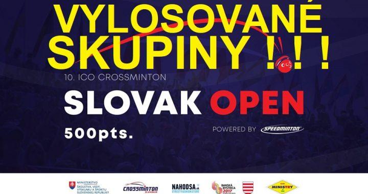 Rozlosovanie skupín 10. ICO Crossminton Slovak Open 2019